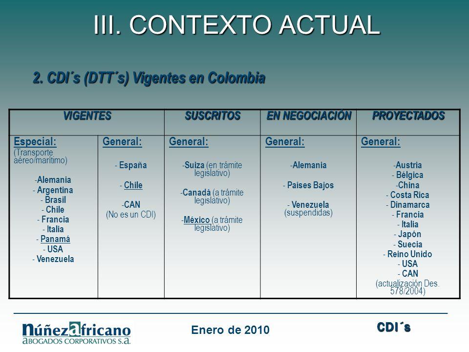 2. CDI´s (DTT´s) Vigentes en Colombia 2. CDI´s (DTT´s) Vigentes en Colombia VIGENTESSUSCRITOS EN NEGOCIACIÓN PROYECTADOS Especial: (Transporte aéreo/m