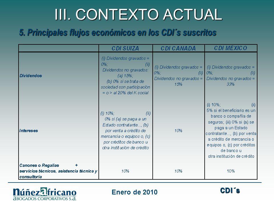 CDI´s ___________________________________________________________________ III. CONTEXTO ACTUAL Enero de 2010 5. Principales flujos económicos en los C