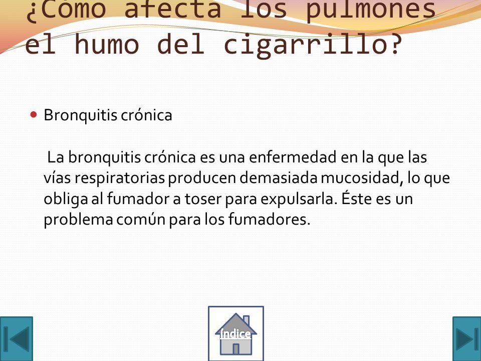 ¿Qué es lo dañino del humo del cigarrillo? El humo de cigarrillo es una mezcla compleja de químicos generados por la combustión (quema) del tabaco y d