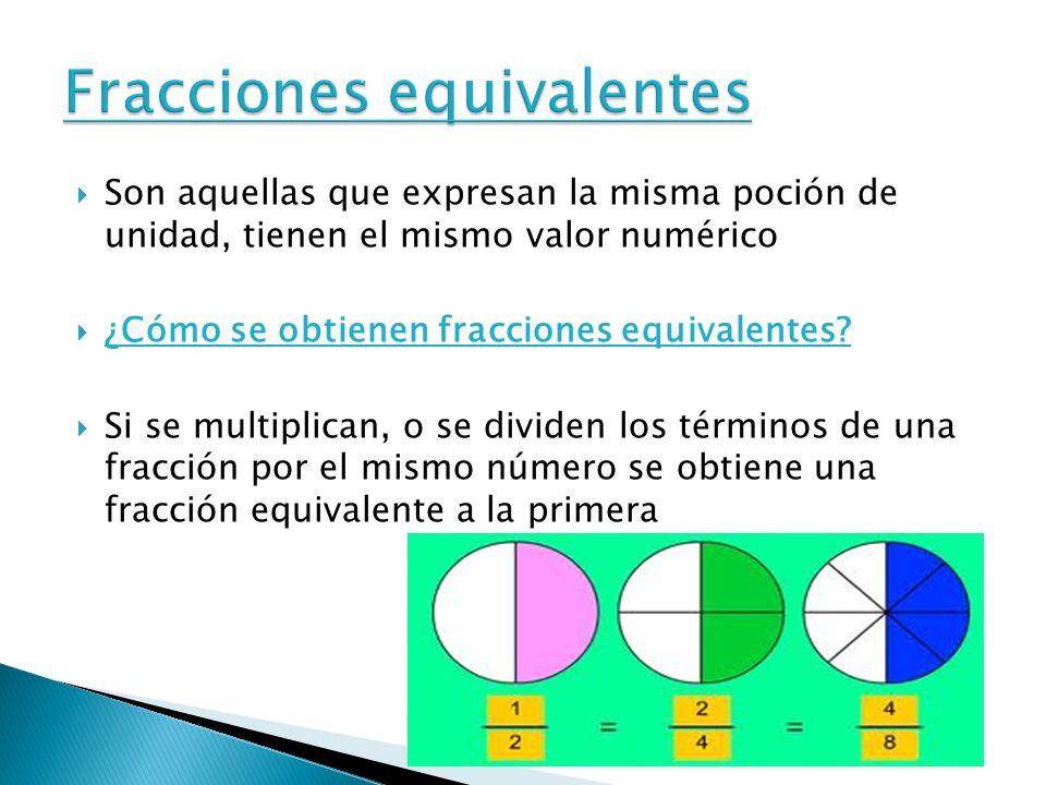 Son aquellas que expresan la misma poción de unidad, tienen el mismo valor numérico ¿Cómo se obtienen fracciones equivalentes? Si se multiplican, o se