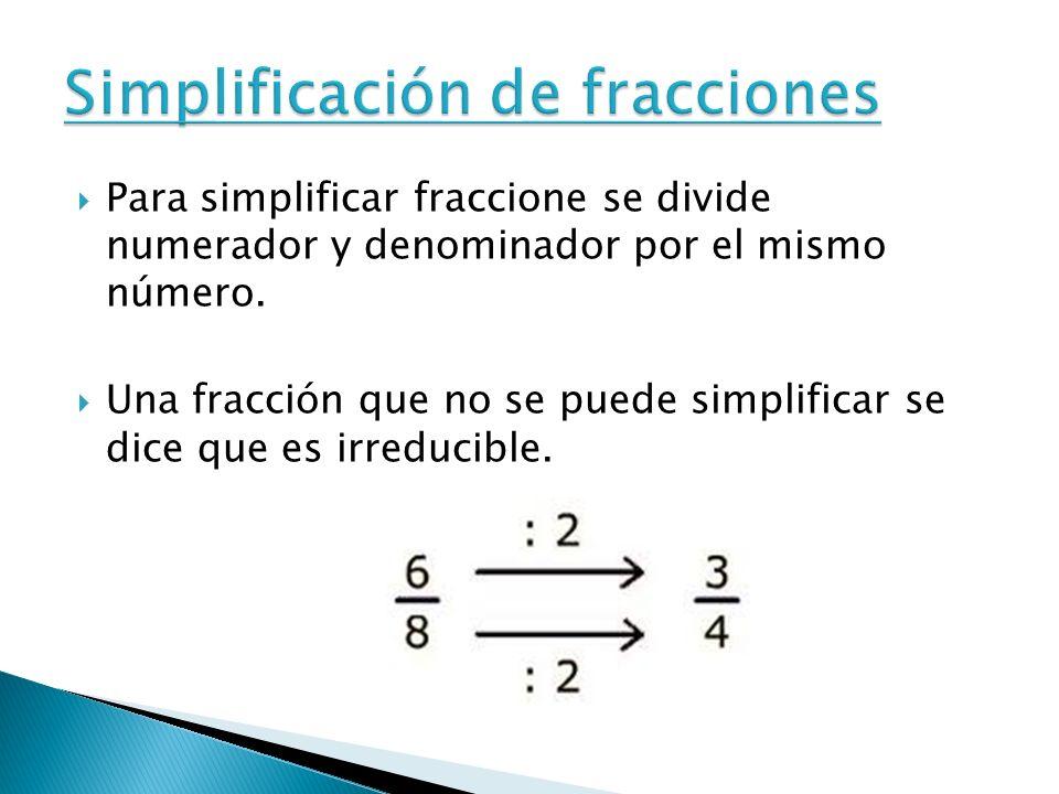 Para simplificar fraccione se divide numerador y denominador por el mismo número. Una fracción que no se puede simplificar se dice que es irreducible.