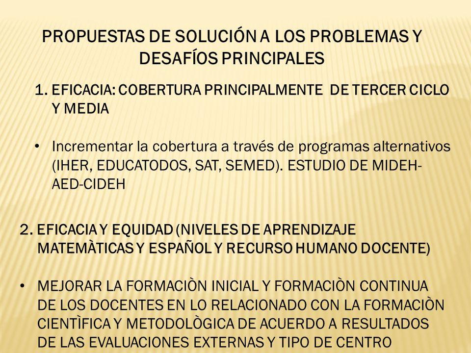 PROPUESTAS DE SOLUCIÓN A LOS PROBLEMAS Y DESAFÍOS PRINCIPALES 1. EFICACIA: COBERTURA PRINCIPALMENTE DE TERCER CICLO Y MEDIA Incrementar la cobertura a