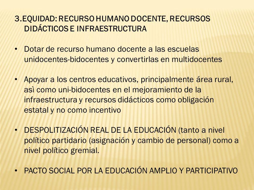 3.EQUIDAD: RECURSO HUMANO DOCENTE, RECURSOS DIDÁCTICOS E INFRAESTRUCTURA Dotar de recurso humano docente a las escuelas unidocentes-bidocentes y conve
