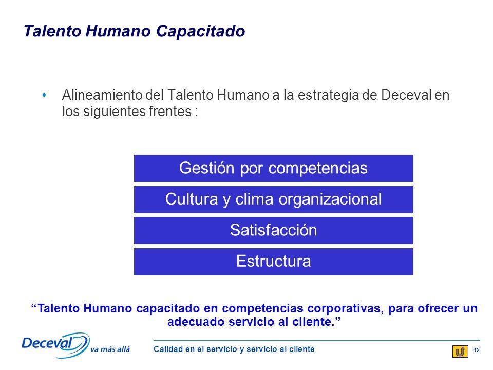 Calidad en el servicio y servicio al cliente 12 Talento Humano Capacitado Alineamiento del Talento Humano a la estrategia de Deceval en los siguientes frentes : Talento Humano capacitado en competencias corporativas, para ofrecer un adecuado servicio al cliente.