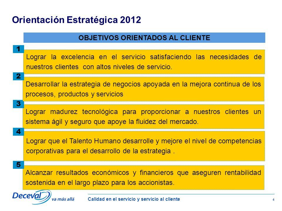 Calidad en el servicio y servicio al cliente 4 Lograr la excelencia en el servicio satisfaciendo las necesidades de nuestros clientes con altos niveles de servicio.