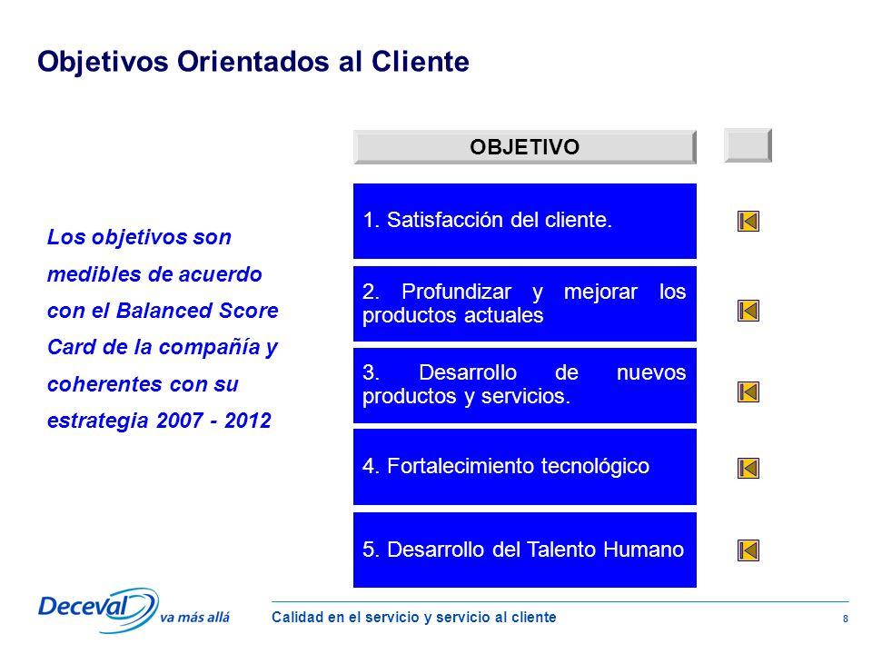 Calidad en el servicio y servicio al cliente 8 Los objetivos son medibles de acuerdo con el Balanced Score Card de la compañía y coherentes con su estrategia 2007 - 2012 1.
