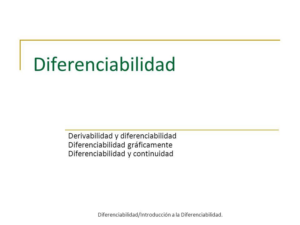 Diferenciabilidad Derivabilidad y diferenciabilidad Diferenciabilidad gráficamente Diferenciabilidad y continuidad Diferenciabilidad/Introducción a la