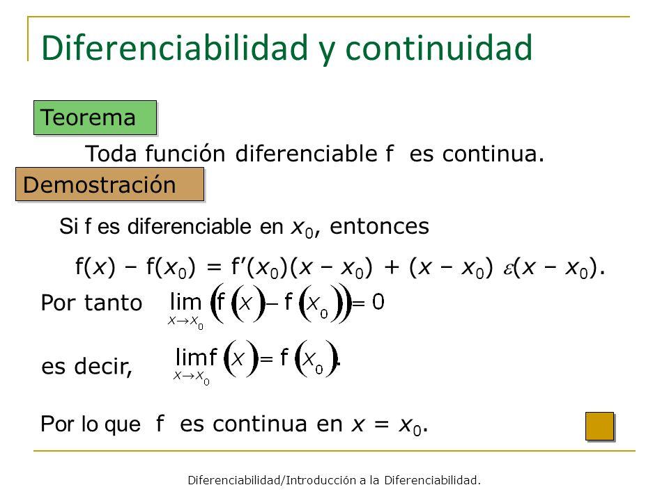 Diferenciabilidad/Introducción a la Diferenciabilidad. Diferenciabilidad y continuidad Demostración Teorema Toda función diferenciable f es continua.
