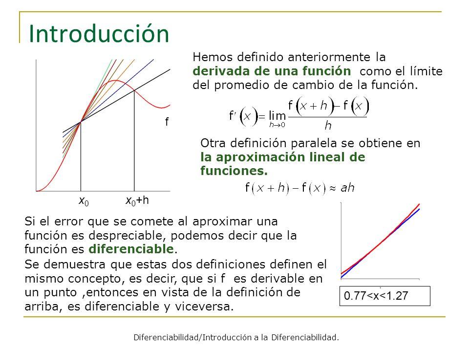 Introducción Hemos definido anteriormente la derivada de una función como el límite del promedio de cambio de la función. Si el error que se comete al