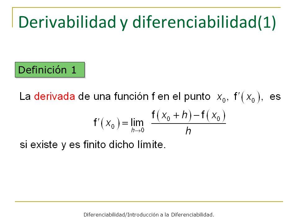 Derivabilidad y diferenciabilidad (1) Definición 1