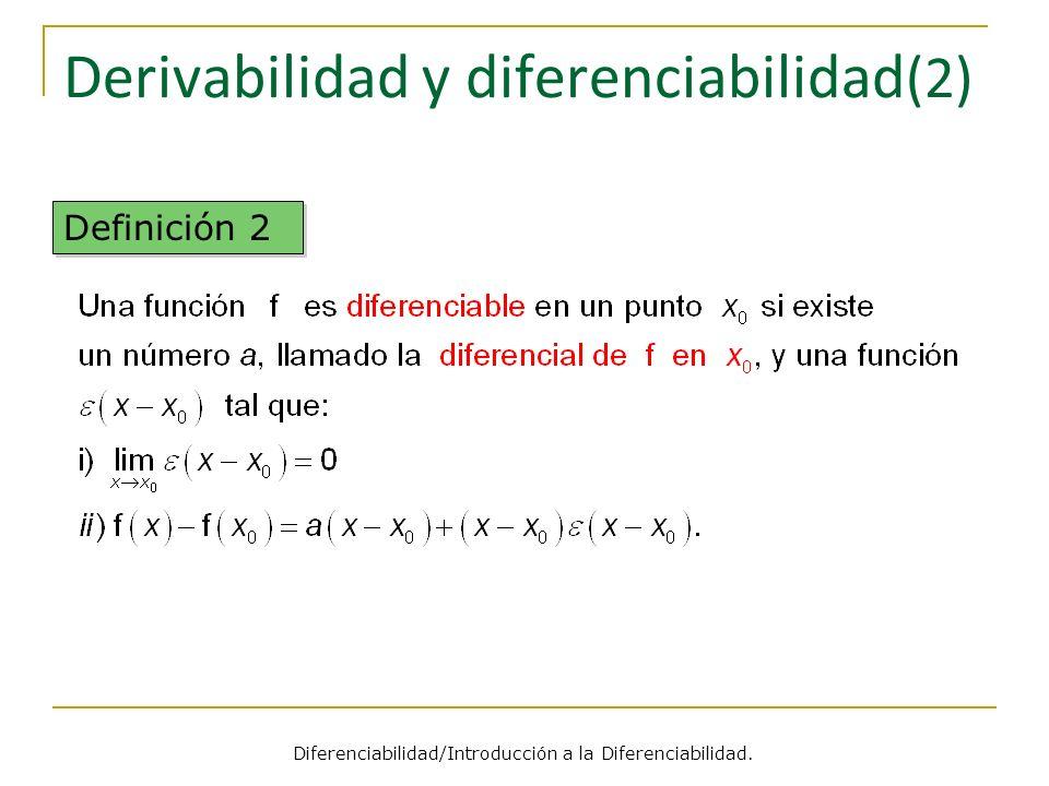 Derivabilidad y diferenciabilidad (2) Definición 2 Diferenciabilidad/Introducción a la Diferenciabilidad.