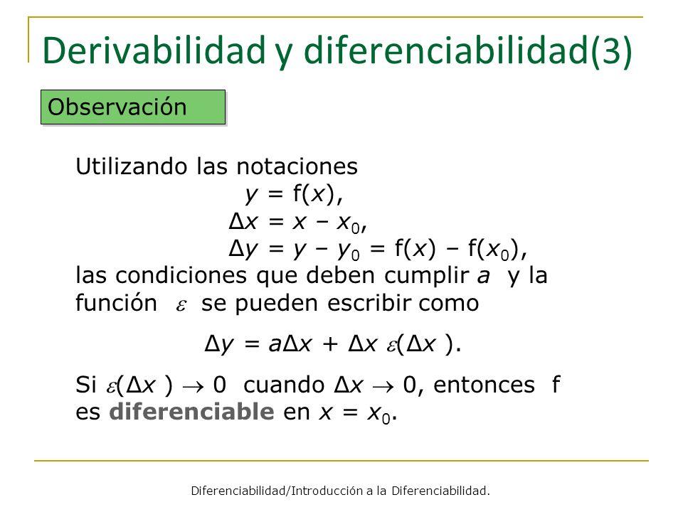 Derivabilidad y diferenciabilidad (3) Observación Utilizando las notaciones y = f(x), x = x – x 0, y = y – y 0 = f(x) – f(x 0 ), las condiciones que d