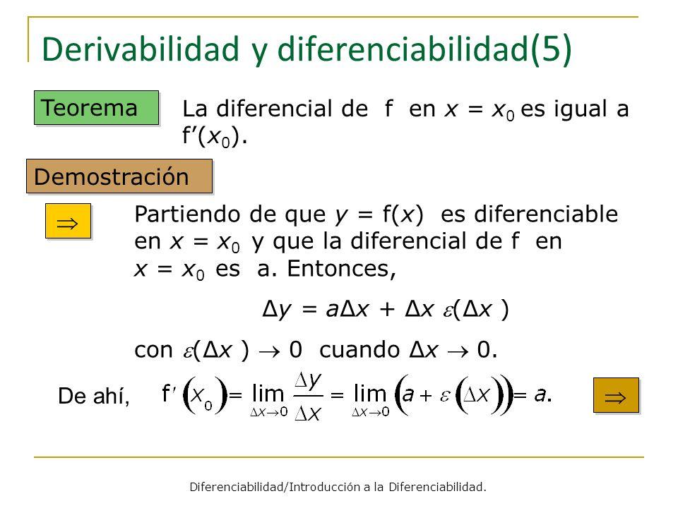 Derivabilidad y diferenciabilidad (5) Teorema Partiendo de que y = f(x) es diferenciable en x = x 0 y que la diferencial de f en x = x 0 es a. Entonce