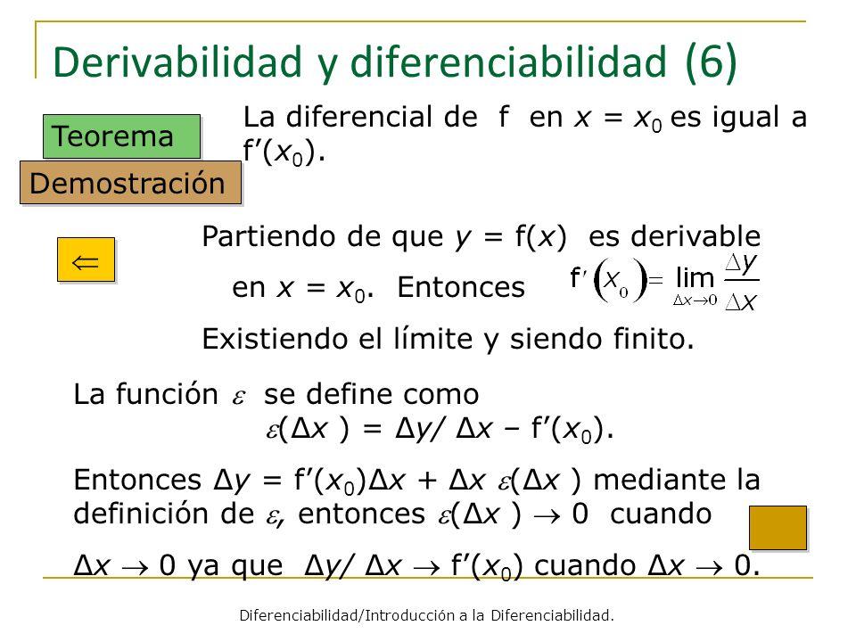 Derivabilidad y diferenciabilidad (6) Teorema Partiendo de que y = f(x) es derivable en x = x 0. Entonces Existiendo el límite y siendo finito. La dif