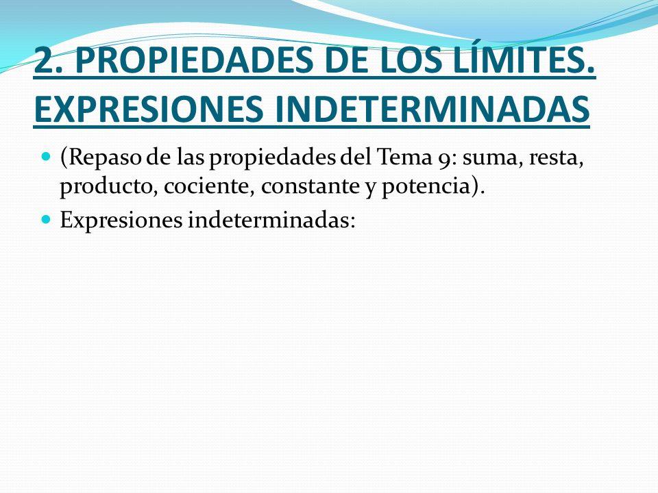 2. PROPIEDADES DE LOS LÍMITES. EXPRESIONES INDETERMINADAS (Repaso de las propiedades del Tema 9: suma, resta, producto, cociente, constante y potencia