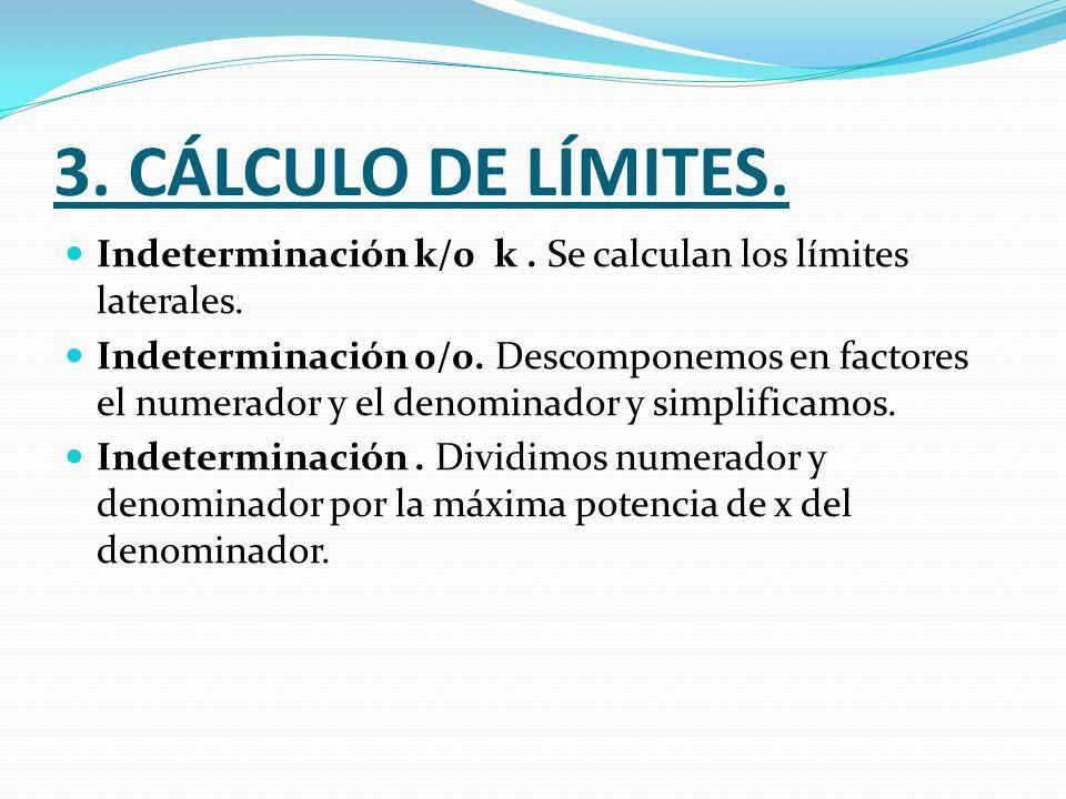 3. CÁLCULO DE LÍMITES. Indeterminación k/0 k. Se calculan los límites laterales. Indeterminación 0/0. Descomponemos en factores el numerador y el deno