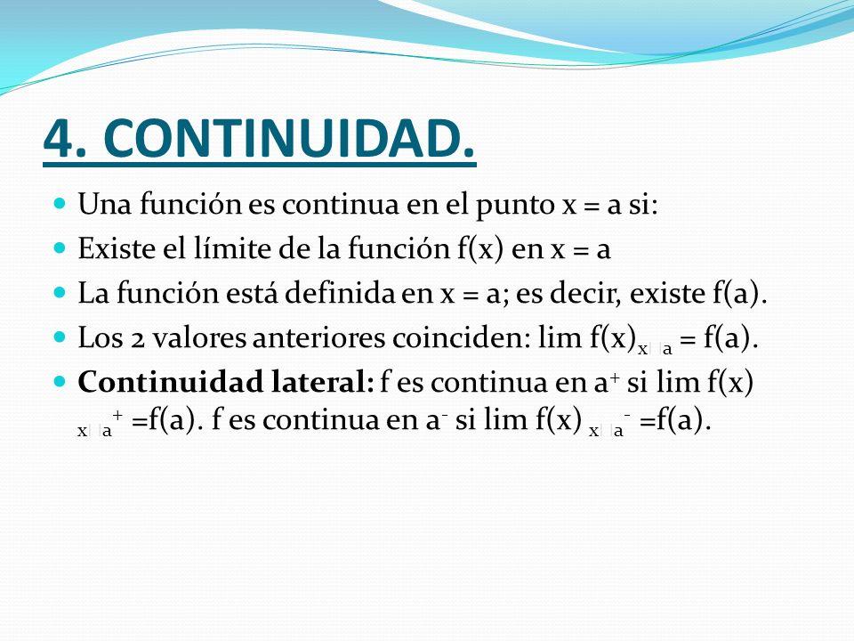 4. CONTINUIDAD. Una función es continua en el punto x = a si: Existe el límite de la función f(x) en x = a La función está definida en x = a; es decir