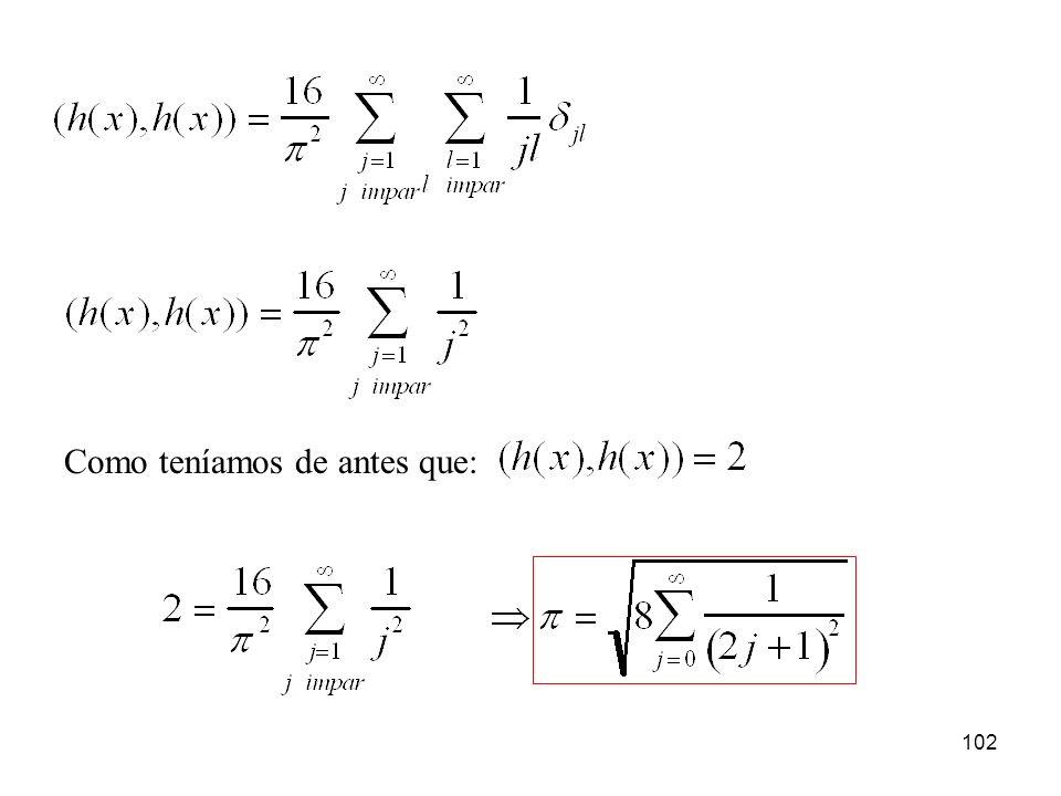 101 Si calculamos la norma al cuadrado del vector h(x), es decir, el producto de escalar de esa función por sí misma: Pero la norma al cuadrado del vector h(x), la podríamos calcular también del siguiente modo: