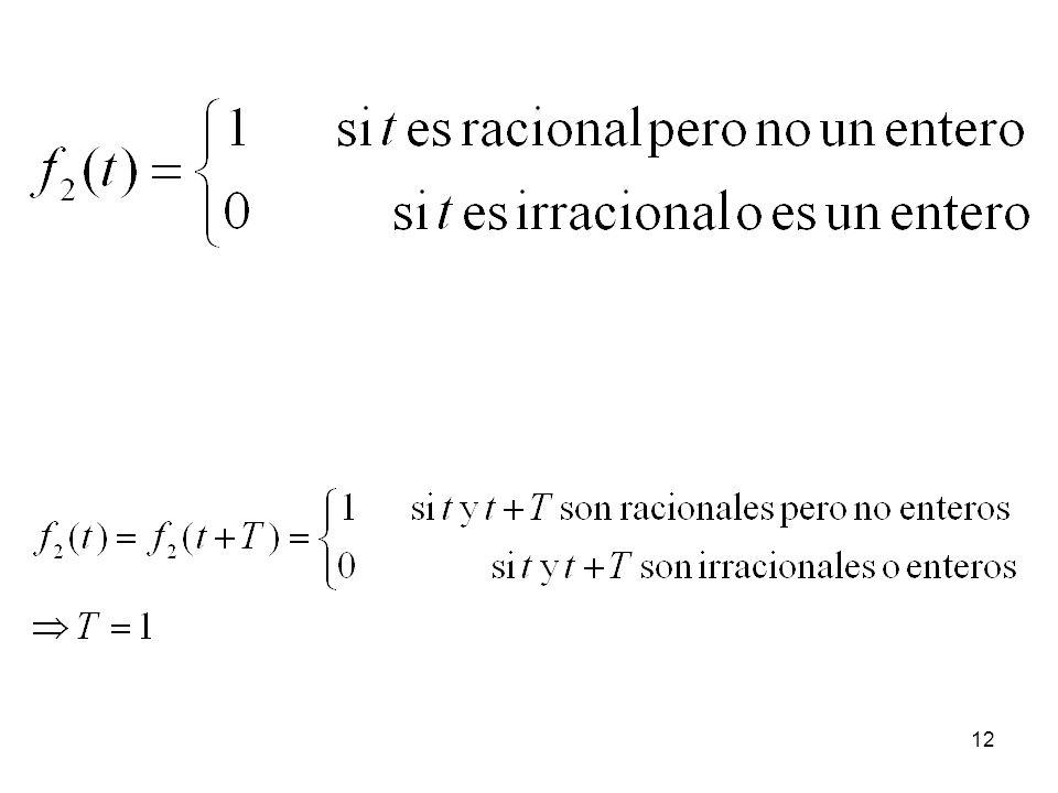 11 ¿Puede una función f(t) cumplir la condición f(t) = f(t + T) para todo t y no tener un periodo fundamental?