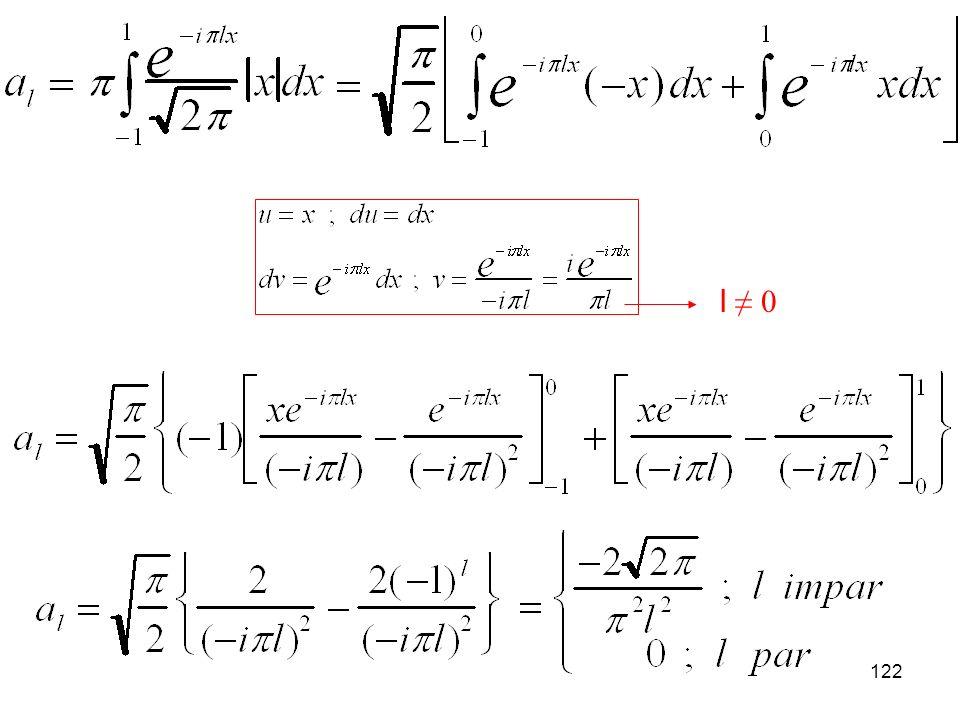 121 Calcular la serie de Fourier de la función g(x)=|x| en la base ortogonal {exp(in x)/2 } definida en el intervalo (-1,1).