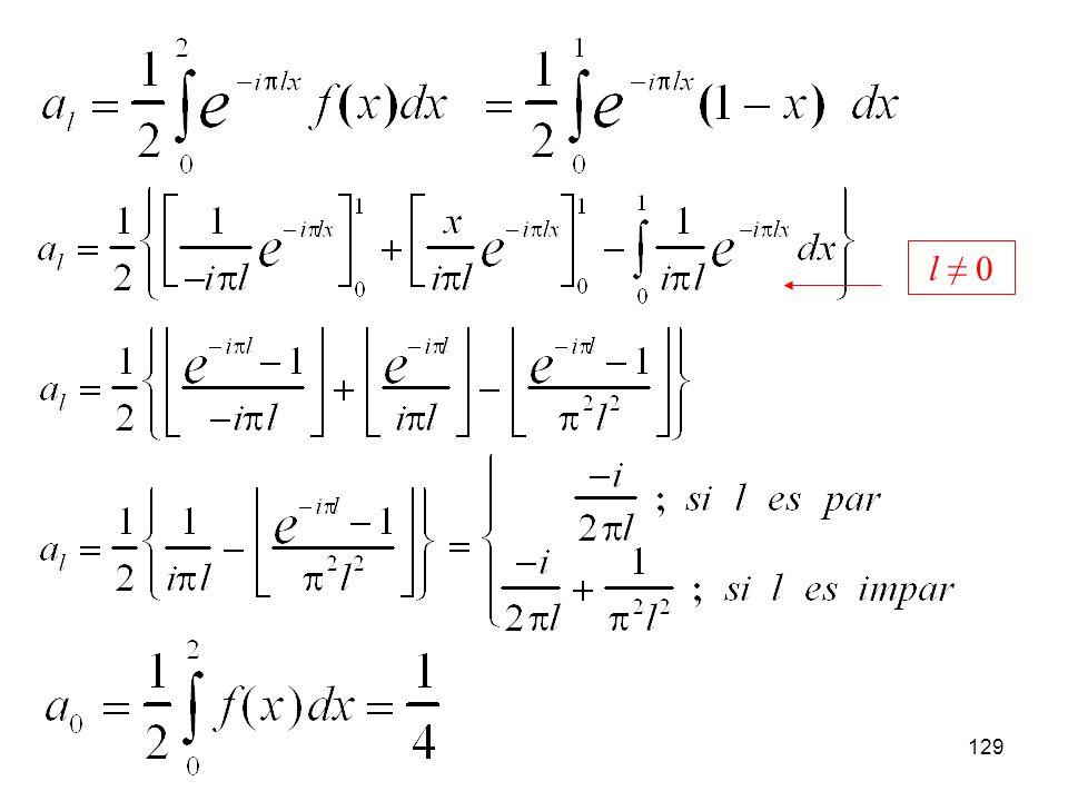 128 Sea la siguiente función, f(x): a) Calcular la serie de Fourier de esta función en el intervalo (0,2) tanto en función de exponenciales complejas como de senos y cosenos.