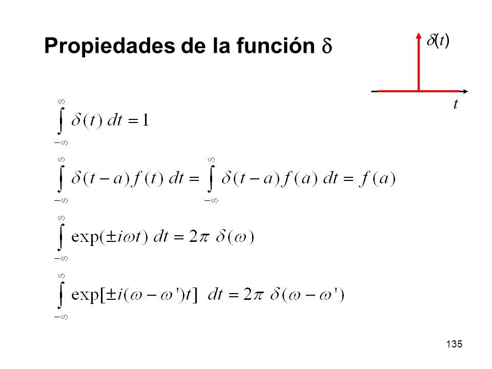 134 La función impulso o delta de Dirac Podemos pensar en la delta de Dirac como el límite de una serie de funciones: t f1(t)f1(t) f2(t)f2(t) f3(t)f3(t) ( t ) t