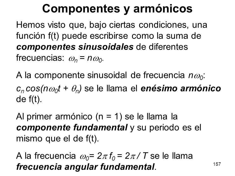 156 Si además definimos C 0 = a 0 /2, la serie de Fourier se puede escribir como: Con: Ejercicio: Definir adecuadamente los coeficientes C 0, C n y n, de manera que la serie de Fourier pueda escribirse como: