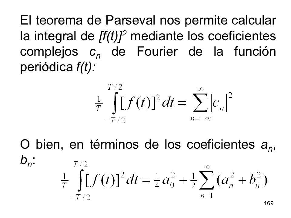 168 De acuerdo a lo anterior, si la función periódica f(t) representa una señal de voltaje o corriente, la potencia promedio entregada a una carga resistiva de 1 ohm en un periodo está dada por: Si f(t) es periódica, también lo será [f(t)] 2 y el promedio en un periodo será el promedio en cualquier otro periodo.