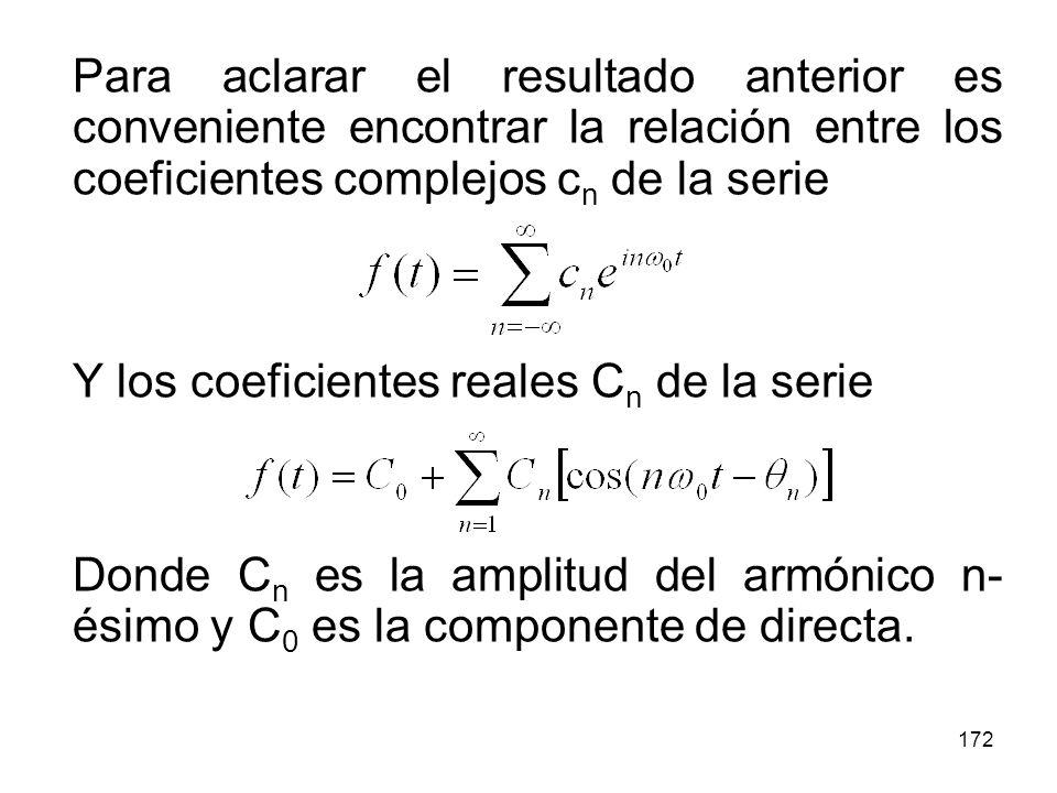 171 Una consecuencia importante del teorema de Parseval es el siguiente resultado: El valor cuadrático medio de una función periódica f(t) es igual a la suma de los valores cuadráticos medios de sus armónicos, es decir: Donde C n es la amplitud del armónico n-ésimo y C 0 es la componente de directa.