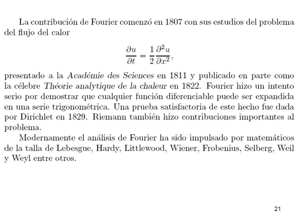 20 Joseph Fourier En diciembre de 1807 Joseph Fourier presentó un sorprendente artículo a la Academia de Ciencias en París.