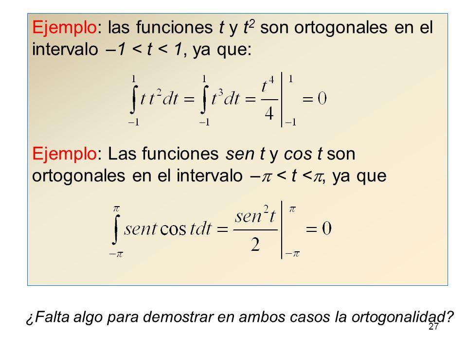 26 Ortogonalidad Se dice que las funciones del conjunto {f k (t)} son ortogonales en el intervalo a < t < b si dos funciones cualesquiera f m (t), f n (t) de dicho conjunto cumplen: