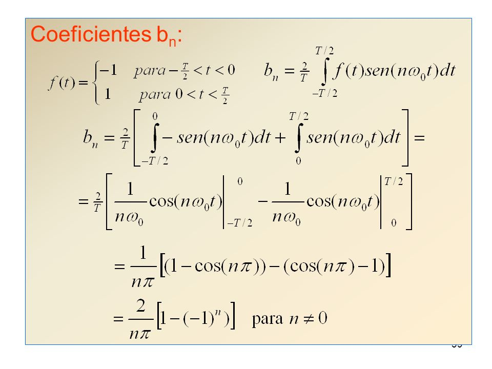 38 Coeficientes a n :