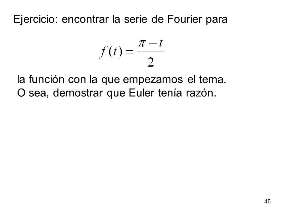 44 De hecho si repetimos para cualquier intervalo de longitud el periodo T de la función, será lo mismo: 1 f(t) t...