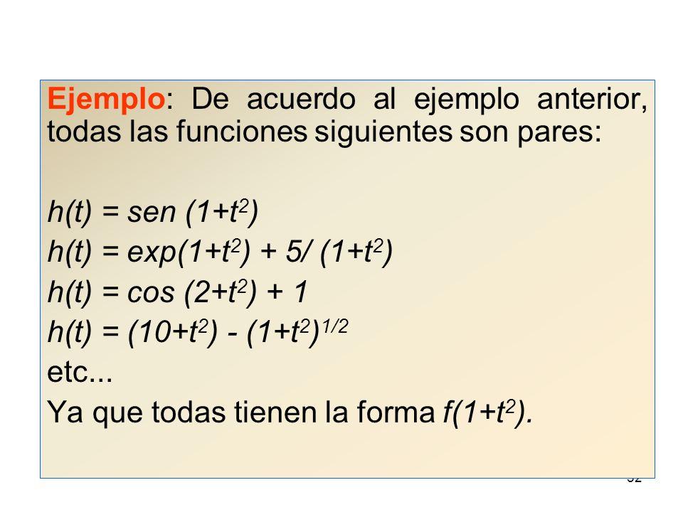 51 Ejemplo: ¿La función h(t) = f(1+t 2 ) es par o impar.