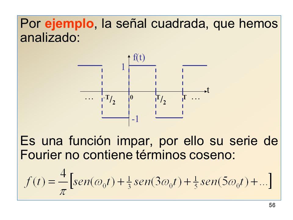 55 Como la función sen(n 0 t) es una función impar para todo n y la función cos(n 0 t) es una función par para todo n, es de esperar que: Si f(t) es par, su serie de Fourier no contendrá términos seno, por lo tanto b n = 0 para todo n.