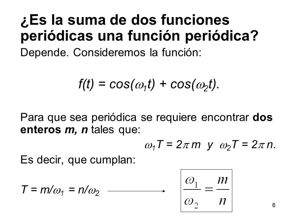36 Un ejemplo históricamente importante: Encontrar la serie de Fourier para la función de onda cuadrada de periodo T: La expresión para f(t) en –T / 2 < t < T / 2 es: 1 f(t) t...