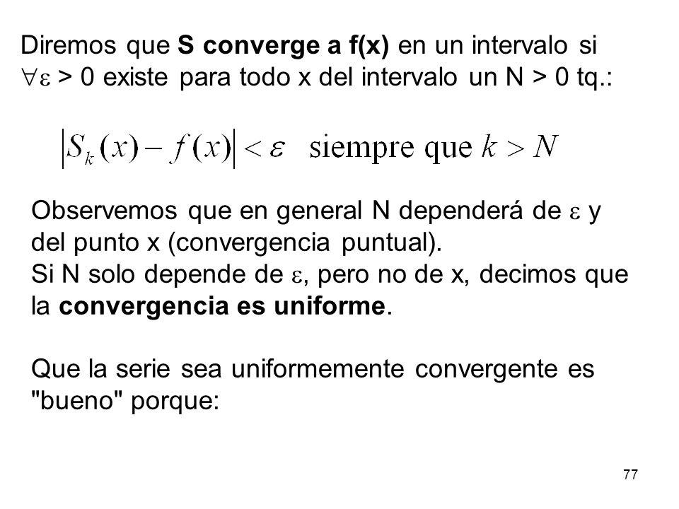 76 Que la integral traspase los sumatorios en la deducción de las fórmulas para los coeficientes de la serie de Fourier, equivale a asumir que la serie converge uniformemente...