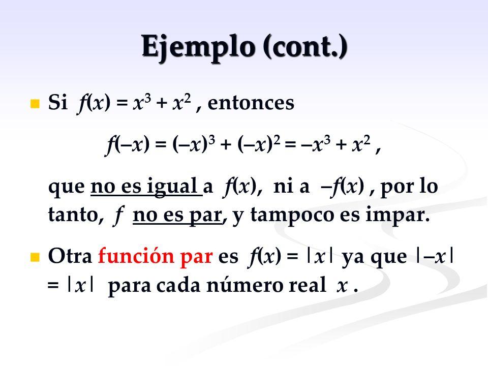Ejemplo (cont.) Si f(x) = x 3 + x 2, entonces f(–x) = (–x) 3 + (–x) 2 = –x 3 + x 2, que no es igual a f(x), ni a –f(x), por lo tanto, f no es par, y t