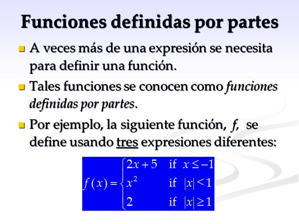 Funciones definidas por partes A veces más de una expresión se necesita para definir una función. A veces más de una expresión se necesita para defini