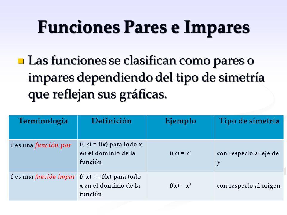 Funciones Pares e Impares Las funciones se clasifican como pares o impares dependiendo del tipo de simetría que reflejan sus gráficas. Las funciones s