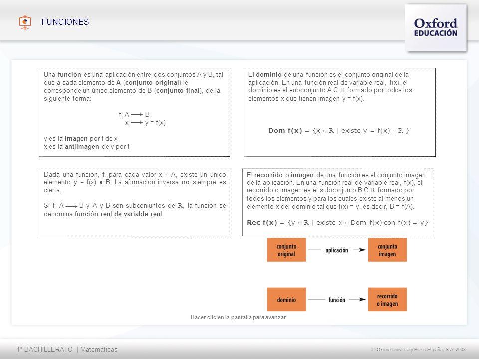 1º BACHILLERATO | Matemáticas © Oxford University Press España, S.A. 2008 Hacer clic en la pantalla para avanzar FUNCIONES El dominio de una función e