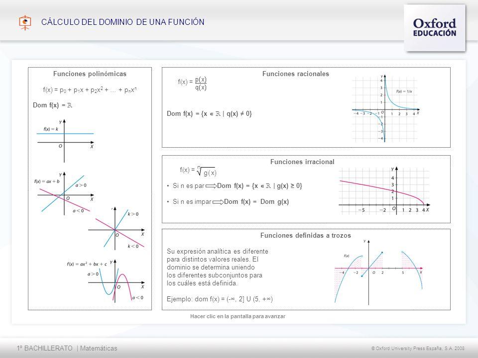1º BACHILLERATO | Matemáticas © Oxford University Press España, S.A. 2008 Hacer clic en la pantalla para avanzar CÁLCULO DEL DOMINIO DE UNA FUNCIÓN Fu