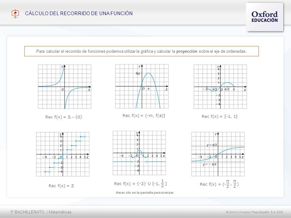 1º BACHILLERATO | Matemáticas © Oxford University Press España, S.A. 2008 Hacer clic en la pantalla para avanzar CÁLCULO DEL RECORRIDO DE UNA FUNCIÓN