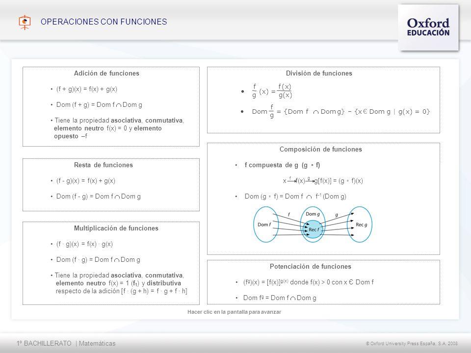 1º BACHILLERATO | Matemáticas © Oxford University Press España, S.A. 2008 Hacer clic en la pantalla para avanzar OPERACIONES CON FUNCIONES Potenciació