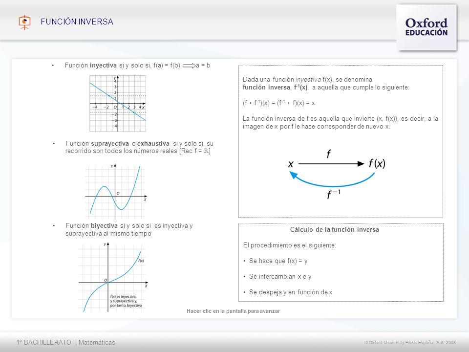 1º BACHILLERATO | Matemáticas © Oxford University Press España, S.A. 2008 Hacer clic en la pantalla para avanzar FUNCIÓN INVERSA Función suprayectiva