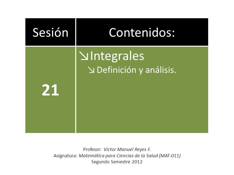 SesiónContenidos: 21 Integrales Definición y análisis. Profesor: Víctor Manuel Reyes F. Asignatura: Matemática para Ciencias de la Salud (MAT-011) Seg