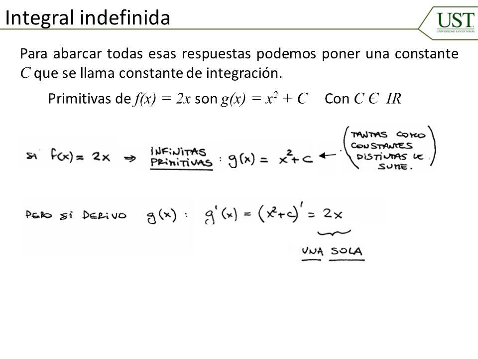 Integral indefinida Para abarcar todas esas respuestas podemos poner una constante C que se llama constante de integración. Primitivas de f(x) = 2x so