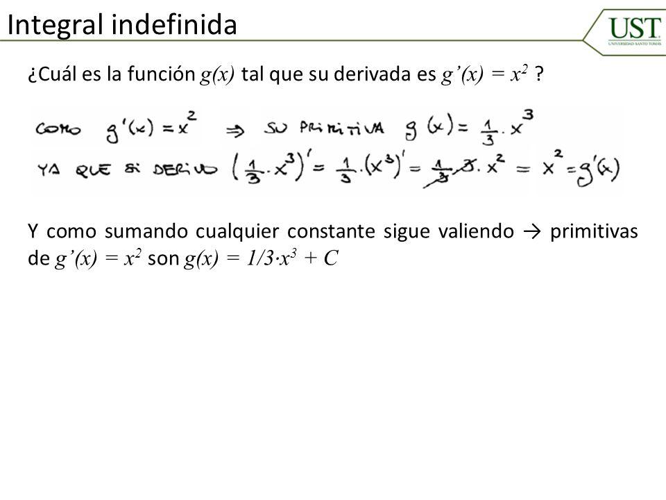 ¿Cuál es la función g(x) tal que su derivada es g(x) = x 2 ? Integral indefinida Y como sumando cualquier constante sigue valiendo primitivas de g(x)