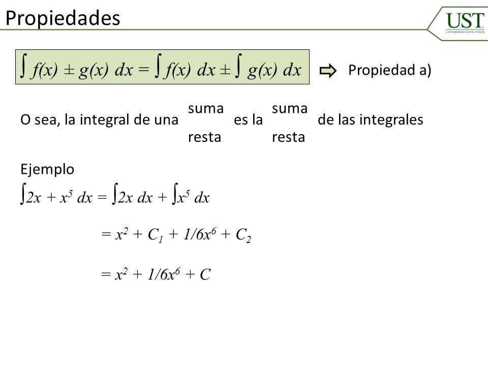 Propiedades f(x) ± g(x) dx = f(x) dx ± g(x) dx O sea, la integral de una suma resta es la suma resta de las integrales 2x + x 5 dx = Ejemplo 2x dx + x