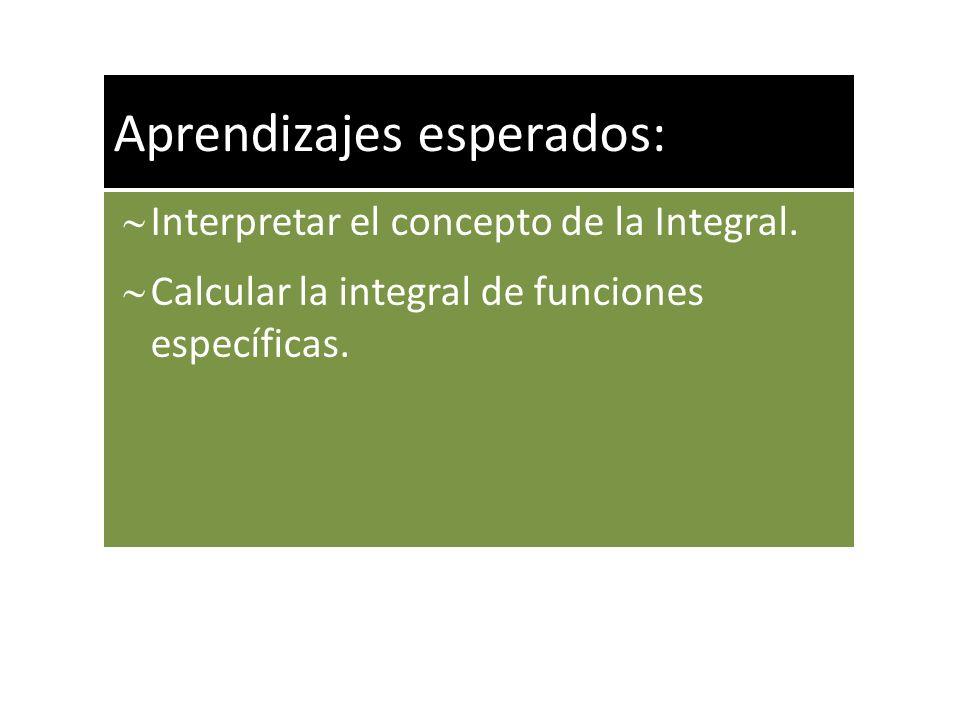 Aprendizajes esperados: Interpretar el concepto de la Integral. Calcular la integral de funciones específicas.